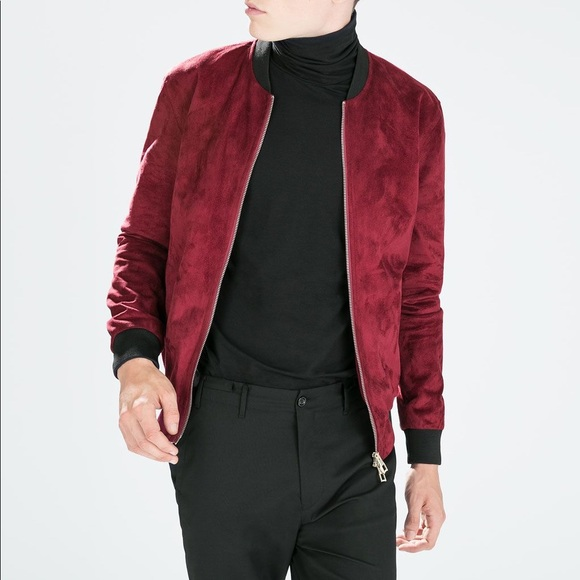 c12e21a0 Zara Jackets & Coats | Mens Red And Black Suede Bomber Jacket | Poshmark